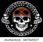 vintage biker skull emblem tee... | Shutterstock .eps vector #687565027