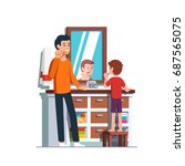 father and son brushing teeth... | Shutterstock .eps vector #687565075