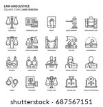 law and justice  square icon... | Shutterstock .eps vector #687567151