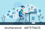 young happy girl working from... | Shutterstock .eps vector #687570625
