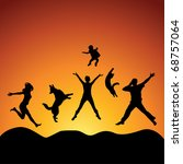 Stock vector people and pets jumping over sunset vector 68757064