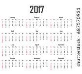 calendar for 2017. week starts...   Shutterstock . vector #687570931
