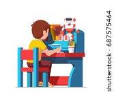 school or preschool kid boy... | Shutterstock .eps vector #687575464