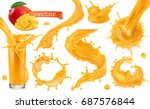 orange paint splash. mango ... | Shutterstock .eps vector #687576844
