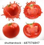 tomato juice. fresh vegetable.... | Shutterstock .eps vector #687576847