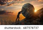 business man pushing large... | Shutterstock . vector #687578737