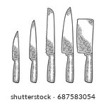 set professional kitchen knifes.... | Shutterstock .eps vector #687583054