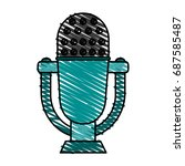 retro old microphone icon  | Shutterstock .eps vector #687585487