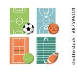 set icon court sport | Shutterstock .eps vector #687596101