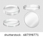 round transparent plates on... | Shutterstock .eps vector #687598771