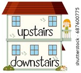 opposite wordcard for upstairs... | Shutterstock .eps vector #687600775