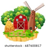 farm scene with red barn and... | Shutterstock .eps vector #687600817