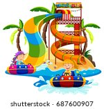 kids playing at a water slide... | Shutterstock .eps vector #687600907