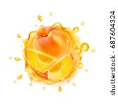 realistic juice splash with... | Shutterstock . vector #687604324
