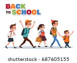 back to school flat colorful... | Shutterstock .eps vector #687605155