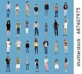 diversity people set gesture... | Shutterstock . vector #687607975