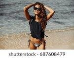happy smiling female model in...   Shutterstock . vector #687608479