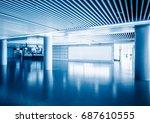 modern building hallway with... | Shutterstock . vector #687610555