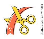 gold scissors cut the red... | Shutterstock .eps vector #687613381