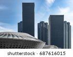 modern skyscrapers against sky... | Shutterstock . vector #687616015