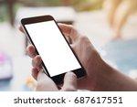 close up woman hand using a... | Shutterstock . vector #687617551
