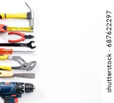 top view of working tools... | Shutterstock . vector #687622297