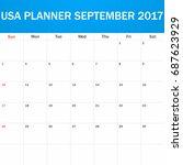 usa planner blank for september ...   Shutterstock . vector #687623929