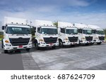 Small photo of New truck fleet in depot.
