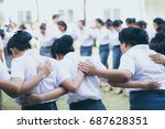 friendship group holding hand... | Shutterstock . vector #687628351