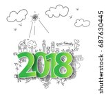 2018 new year with creative...   Shutterstock .eps vector #687630445