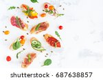 traditional spanish tapas on... | Shutterstock . vector #687638857