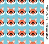 smart cartoon foxes  vector... | Shutterstock .eps vector #687640867