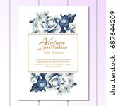 invitation with floral... | Shutterstock . vector #687644209