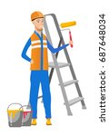 caucasian house painter in... | Shutterstock .eps vector #687648034