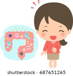 a woman with good intestinal... | Shutterstock .eps vector #687651265