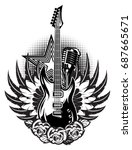 guitar  microphone  wings ... | Shutterstock .eps vector #687665671