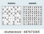 vector sudoku with answer 79.... | Shutterstock .eps vector #687671065