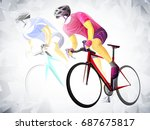 cycling sport  cyclist red... | Shutterstock .eps vector #687675817