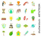 biology icons set. cartoon set... | Shutterstock .eps vector #687678184