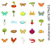 flower insects icons set.... | Shutterstock .eps vector #687679651