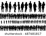 vector  isolated silhouette of... | Shutterstock .eps vector #687681817