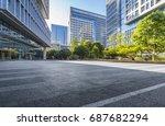 empty floor with modern... | Shutterstock . vector #687682294