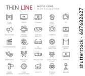collection of movie thin line... | Shutterstock .eps vector #687682627