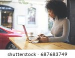 beautiful skilled female... | Shutterstock . vector #687683749