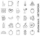 junket icons set. outline set...   Shutterstock .eps vector #687684364