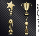 Shiny Trophy Cups Set. Golden...