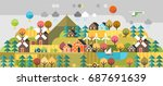 autumn hills. ecology village. | Shutterstock .eps vector #687691639