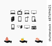 communication device icons ...   Shutterstock .eps vector #687694621