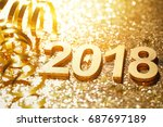 new year 2018 decoration closeup | Shutterstock . vector #687697189
