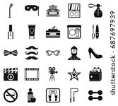 social events icons set. simple ... | Shutterstock .eps vector #687697939